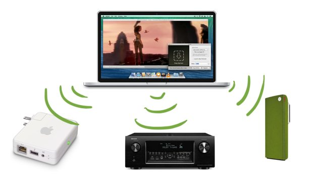 A promotional image showing casting to audio to multiple devices