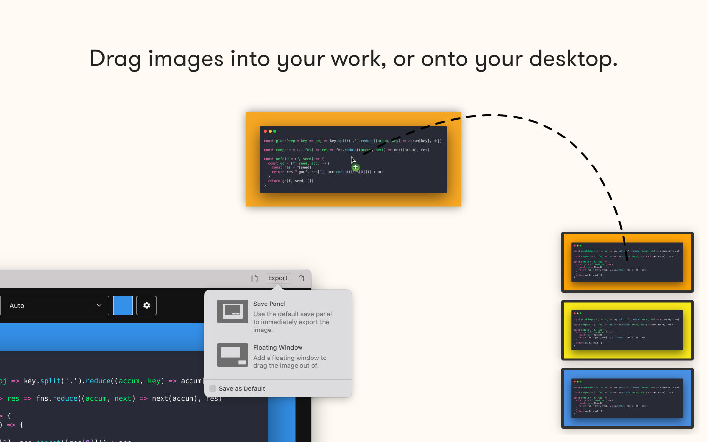 App Store image showing several of Petrify's floating export windows with caption: Drag images right into your work, or onto your desktop.