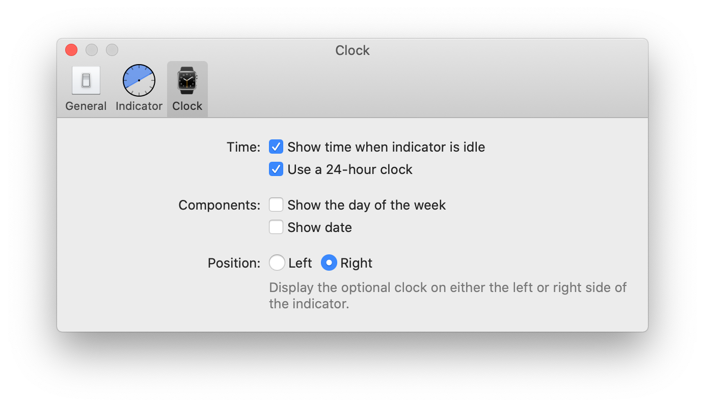 A screenshot of the indicator preferences screen of Timeless