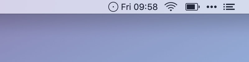 A screenshot of the time displayed by timeless in the menu bar