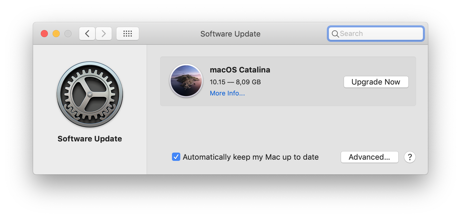 A screenshot of the Catalina upgrade dialog