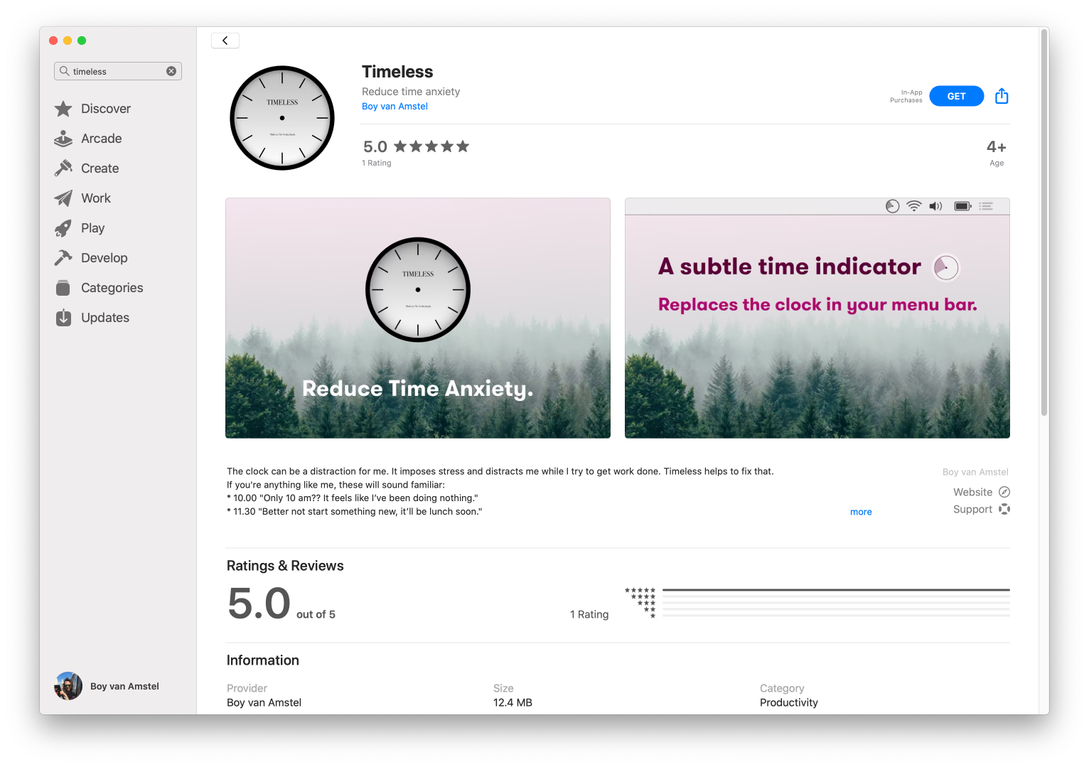 Screenshot of Timeless on the Mac App Store